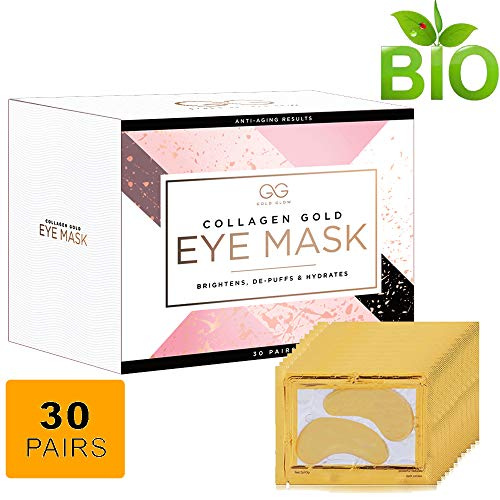 Gold Glow 24k Collagen Under Eye Treatment Patches | Hyaluronic Acid Eliminates Wrinkles, Dark Outs,Undereye Puffiness| Moisturiser Firming Eye Pads For Women & Men