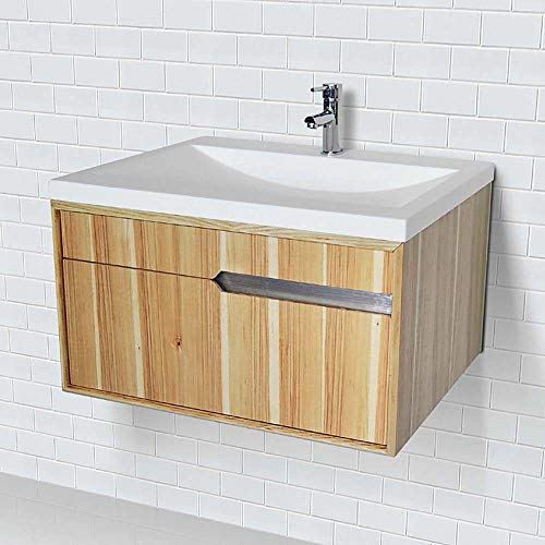 Decolav 1801-HKY Cityscape Wallmount Vanity With Solid Surface Countertop Hickory