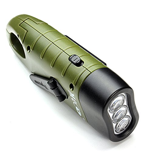MECO Hand Cranking Solar Powered Rechargeable Flashlight Emergency LED Flashlight Carbiner Dynamo Quick Snap Clip Backpack Flashlight Torch Weather Ready for Camping Outdoor Climbing Hiking