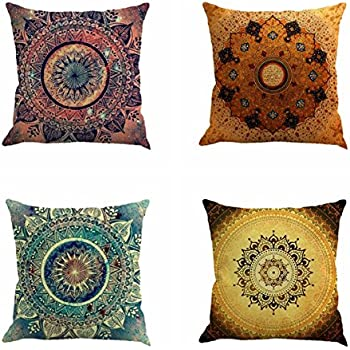 Jartinle Set of 4 Retro Floral Mandala Compass Medallion Bohemian Boho Style Summer Decor Cushion Case Decorative for Sofa Couch 18