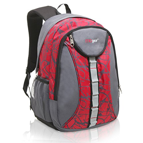 18 Inch MGgear Student Bookbag / Children Sports Backpack / Travel Carryon, Red