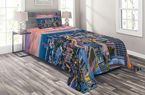 Ambesonne Modern Coverlet Set Twin Size, Atlanta City Skyline at Sunset with Hazy Syk Georgia Town American View, 2 Piece Decorative Quilted Bedspread with 1 Pillow Sham, Baby Pink Blue Silver ()
