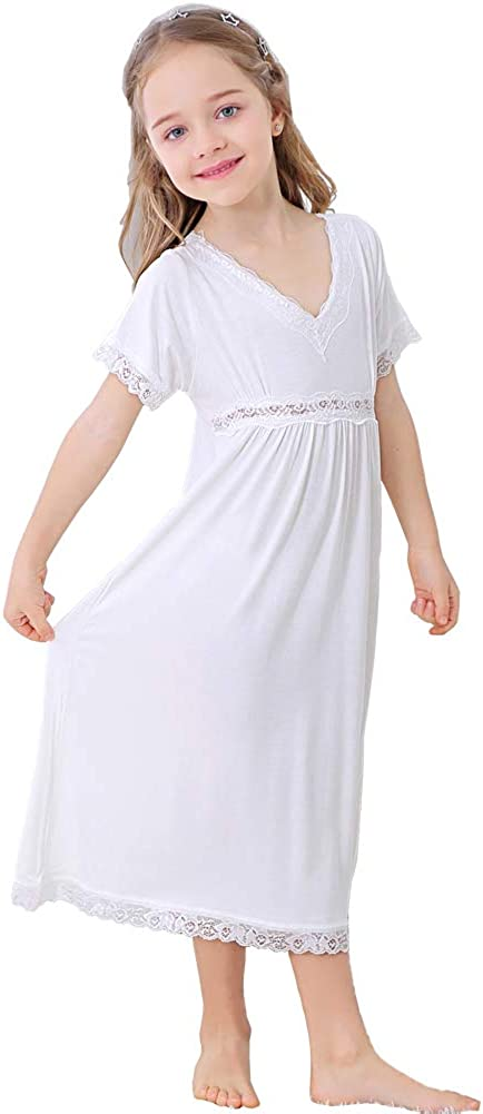 Alter 3-12 Flwydran Nachthemden f/ür M/ädchen Spitze Nachthemd,Baumwolle Modal Vintage Viktorianisches Stil