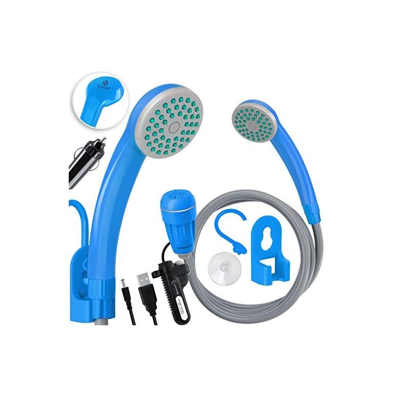 KESSER® Campingdusche mit Akku Tauchpumpe Handbrause 2200mAh-Lithium-Akku, USB-Ladekabel, für Camping Garten – Auto…