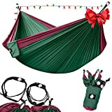 Legit Camping - Double Hammock - Lightweight Parachute Portable Hammocks for Hiking , Travel , Backpacking , Beach , Yard . Gear Includes Nylon Straps & Steel Carabiners (Purple/Dark Green)
