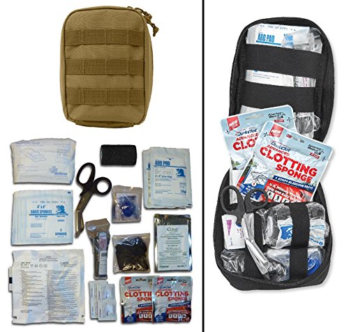 Ultimate Arms Gear Gunshot Bleeding Wound Treatment First Aid Trauma Kit in Tan MOLLE Carrying Pouch Storage Case Fully Stocked 28-Piece USA MADE
