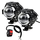 PROZOR Motorcycle Headlights with Switch Motorcycle Front Spotlights 2 Piece 125W 3000LM CREE U5 LED Motorcycle Fog Lights with Universal 3-Button Sw