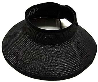 Simplicity Women's Wide Brim Roll-up Straw Hat Sun Visor Black
