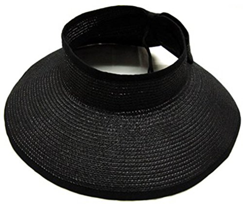 Simplicity Women's Roll Up Wide Brim Straw Sun - Wide Brim Sun Visor