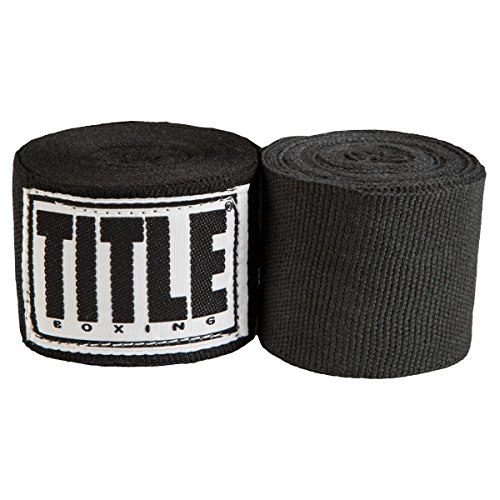 Wraps Black Hand - Title Boxing Elastic Mexican Hand Wrap, Black, 180