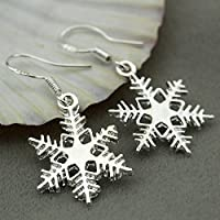 Jaywine2 925 Sterling Silver Charms Snowflake Dangle Earrings Xmas Gift Jewelry