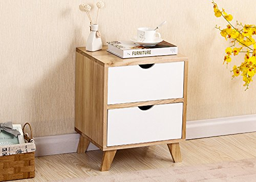 Ash Bedroom Nightstand (White / Ash Oak Finish Side End Table Nighstand with Two Drawer 17.5