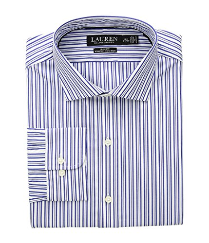 (Lauren Ralph Lauren Men's Slim Fit No-Iron Striped Cotton Dress Shirt Imperial Blue/White 16-32/33)