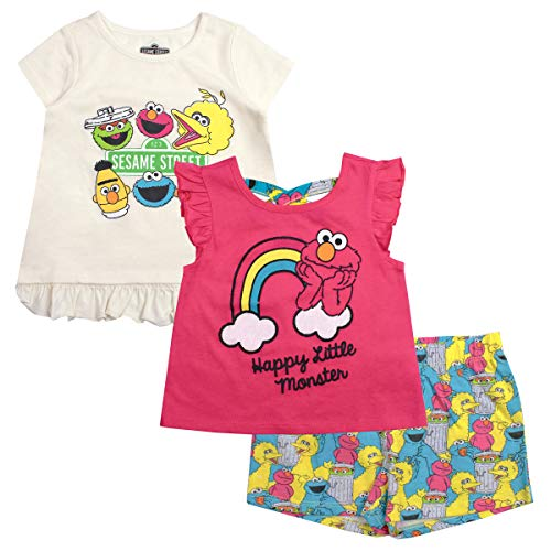 Sesame Street Girls 3PC Shirts and Short Set: Elmo & Cookie Monster -