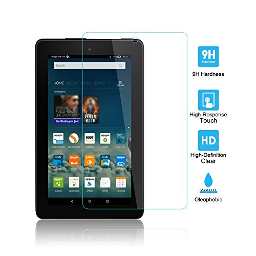 Kindle Fire Screen Protector Glass, iXCC 0.3mm 7 Inch Full Cover Tempered Glass Screen Protector for Amazon Kindle Fire 7-inch Tablet (5th Generation)