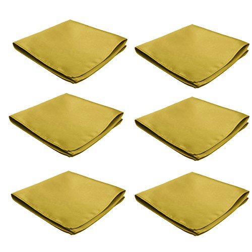 Mens Pocket Squares Handkerchief 6 PK Wedding Party Solid Color Handkerchiefs (Gold) by FoMann