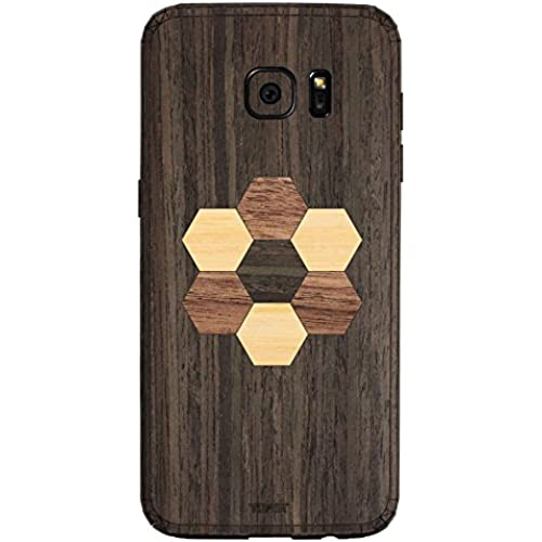 TOAST Real Wood Skin for Samsung Galaxy S7 Edge - Retail Packaging - Ebony with Hexagon Inlay Kit Sales