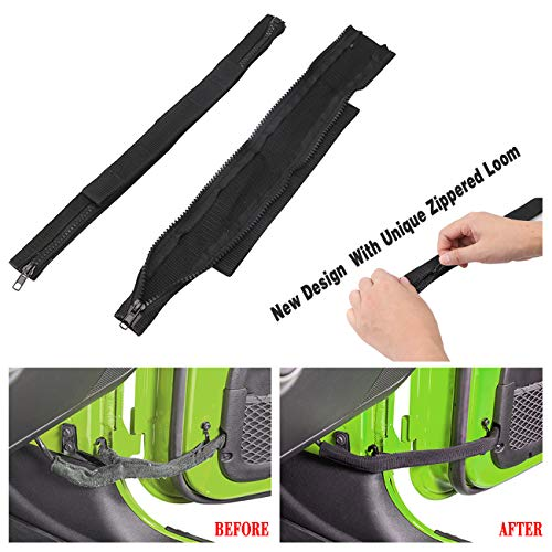 (youmi Adjustable Replacement Door Check Straps Door Limiting Strap Hinge Cloth W/Wiring Protector for 2007-2018 Jeep Wrangler)