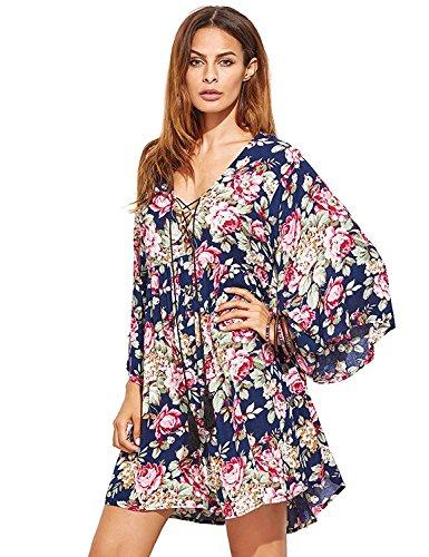 Milumia Women's Floral Print Front Cross Lace Up Deep V-Neck Flare Sleeve Loose Short Mini Dress Purplish Blue XL ()