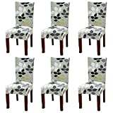 #3: YISUN Dining Chair Slipcovers,[Scenery series] Stretch Removable Washable Dining Chair Protector Cover Seat Slipcover for Hotel,Dining Room,Ceremony,Banquet Wedding Party (6, S06)