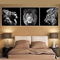 OYJJ 3 Unidades/Mosaico Moderno crisantemo Pintura al óleo de la Lona 30 * 30 CM * 3 Estilo de Arte Pintura Decorativa decoración del hogar (león)