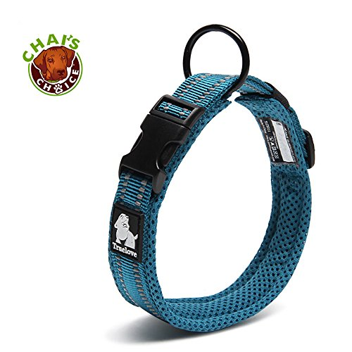 Chai's Choice Best Padded Comfort Cushion Dog Collar for Small, Medium, and Large Dogs and Pets. Perfect Match Front Range Harness Leash. (X-Small, Teal Blue)