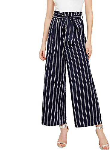 Navy Striped Pants - Floerns Women's Frilled Waist Striped Print Palazzo Pants Navy-1 L