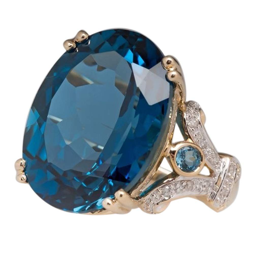 Wedding Rings for Men Gold,Fashion Jewelry Gold Filled Round Sapphire Women's Wedding Ring Band Size6-10,Blue,10#