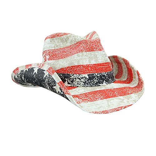 Mens Straw Cowboy Hat, USA American Flag Colors, Red White Blue w/ Inside Pocket