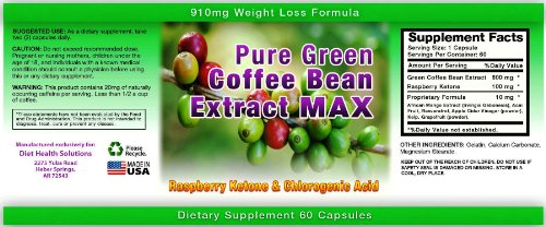 Pure Green Coffee Bean Extract Max ~ Strongest Diet Pill ~ 910mg Weight Loss Formula ~ Green Coffee Bean Extract 800mg ~ 100mg Raspberry Ketones ~ Downloadable FOOD JOURNAL Included ~ Contains up to 45% to 50% Chlorogenic Acid ~ 3 Month Supply by Diet Health Solutions (Image #3)