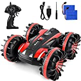 Waterproof RC Cars for Kids Remote Control Car Boat RC Truck Amphibious Stunt Car 4WD Off Road 2.4GHz Radio Controlled Vehicle 360 Degree Rotates Toys for 7-16 Year Old Boys Girls Birthday Gift Red
