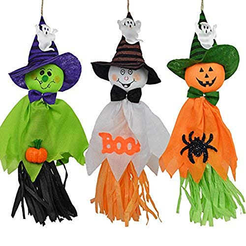 (Zilbery 3 Pcs Halloween Party Decoration Hanging Ghost Windsock, Spook Pumpkin Fly Witch Scarecrow Doll for Front Yard Patio Lawn Garden Party Decor)