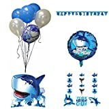 Creative Converting Shark Splash Birthday Bundle – Banner Hanging Decoration Centerpiece and Balloons (Blue- decorations)