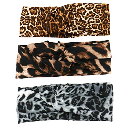 JETEHO 3pcs Leopard Animal Print Stretch Headband Twisted Criss Cross Elastic Hair Band Yoga Head Wrap for Women