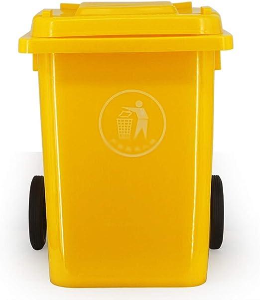 Outdoor trash can Csqing-Contenedor de Basura Capacidad latas Grandes de Basura, Lugar Público jardín al Aire Libre con Ruedas Bote de Basura contenedores de Basura de plástico con Tapa al Aire Libre: