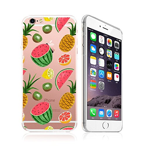 iPhone 8 / 7 Compatible, Colorful Rubber Flexible Silicone Case Bumper Clear Cover Case - Fruit Splash Overload