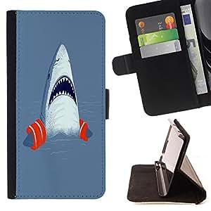 Super Marley Shop - Funda de piel cubierta de la carpeta Foilo con cierre magn¨¦tico FOR HTC One M9- Shark Sea