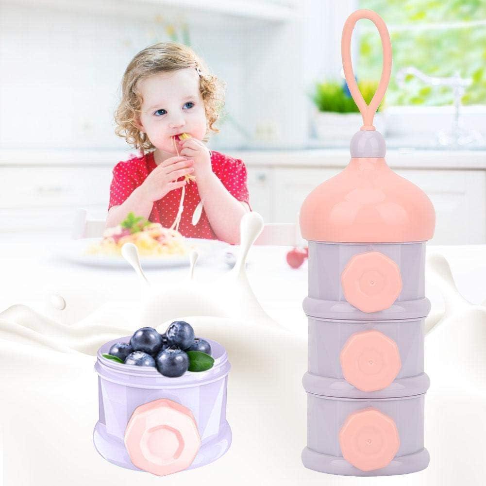 Bo/îte Alimentaire B/éb/é 3 Couches Distributeur de Poudre de Lait Pot de Conservation R/écipient Nourriture B/éb/é Purple