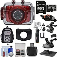 Vivitar DVR783HD HD Waterproof Action Video Camera Camcorder (Red) with Suction Cup, Helmet, Bike Mounts + 32GB Card + Case + Battery Hand Grip + Kit
