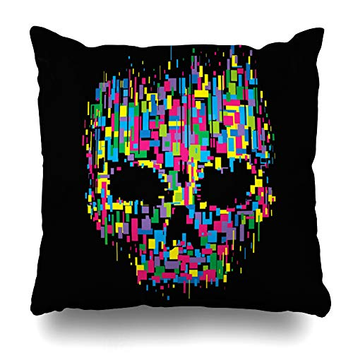 DIYCow Throw Pillows Covers Horror Skull Color Watercolor Graphics Design Mechanical Cushion Case Pillowcase Home Sofa Couch Square Size 18 x 18 Inches Pillowslips