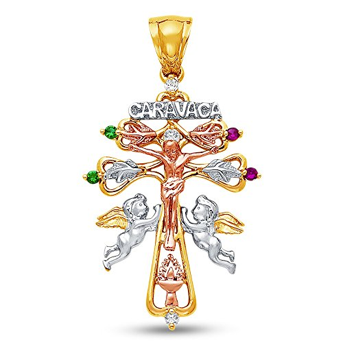 Sonia Jewels 14K Tri 3 Color Gold Ornate Christian Cross Crucifix of Caravaca Pendant Charm with Cherub Angels and CZ Cubic Zirconia (40x28 mm)
