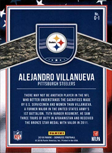 ac3d16636 Amazon.com  2018 Donruss Glory Football Card  1 Alejandro Villanueva NM-MT  Pittsburgh Steelers Official NFL Trading Card  Collectibles   Fine Art