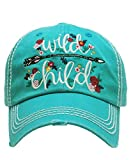 KBETHOS Vintage Collection New! Embroidered Wild Child Vintage Baseball Cap (Turquoise)