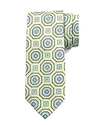 Robert Jensen Finest Silk Handmade Men's Neck Tie - Woven - Large Octagonal Floret