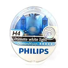 Philips Diamond Vision 5000K H4 Car Headlight Bulbs (Twin Pack of Bulbs)