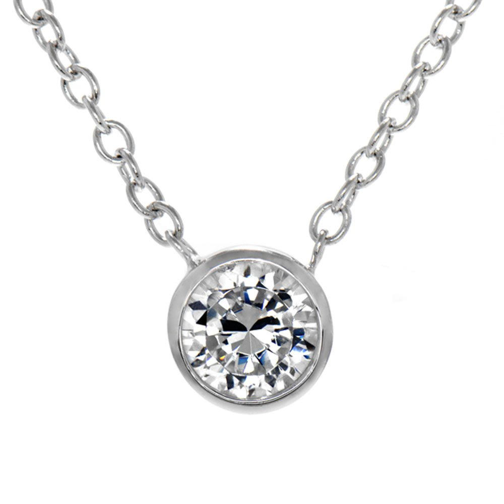 AmberDesire Jessicas .5 CT CZ Solitaire Necklace
