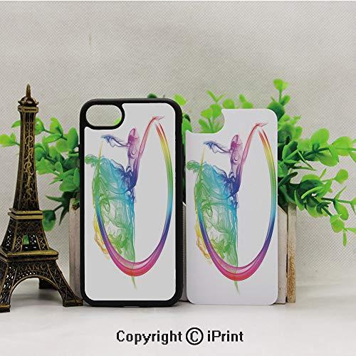 Phone Case Compatible with iPhone7 iPhone8,Smoke-Dance-Shape-Silhouette-of-Dancer-Ballerina-Rainbow-Colors-Fantasy-Decorative,2D Print Black Edge]()