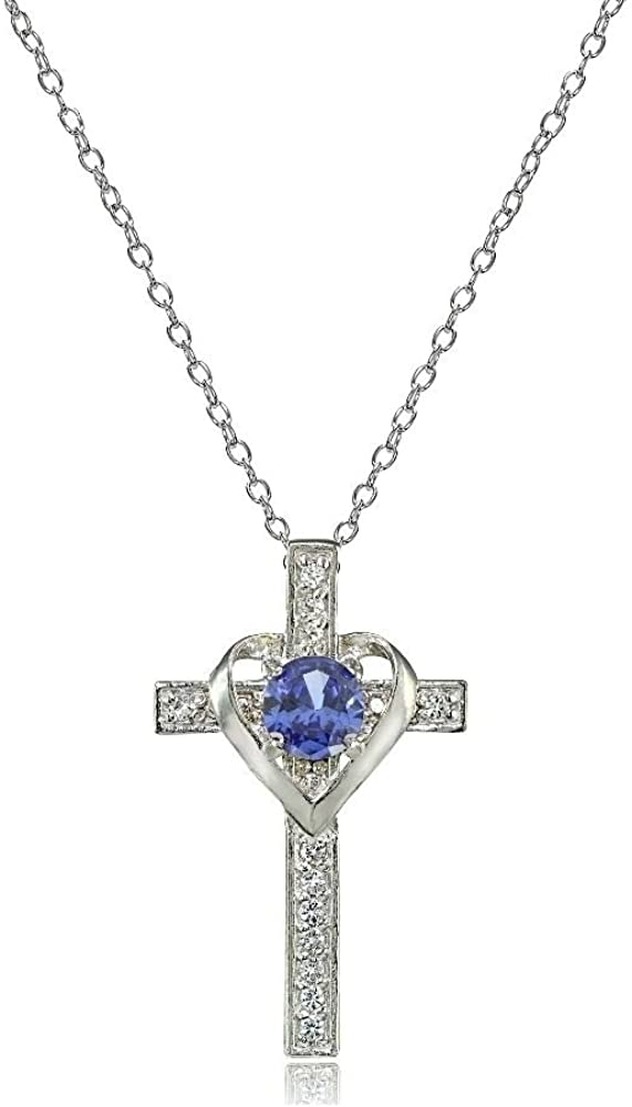Glitzs Jewels 925 Sterling Silver Created Opal Pendant for Necklace in Gift Box White Cross