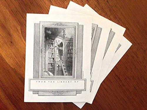 Bookplates Antioch Design Man on Ladder in Library