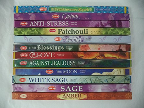 - HEM Incense Best Sellers #1 Set: 12 Boxes X 8 Sticks, Total 96 Sticks